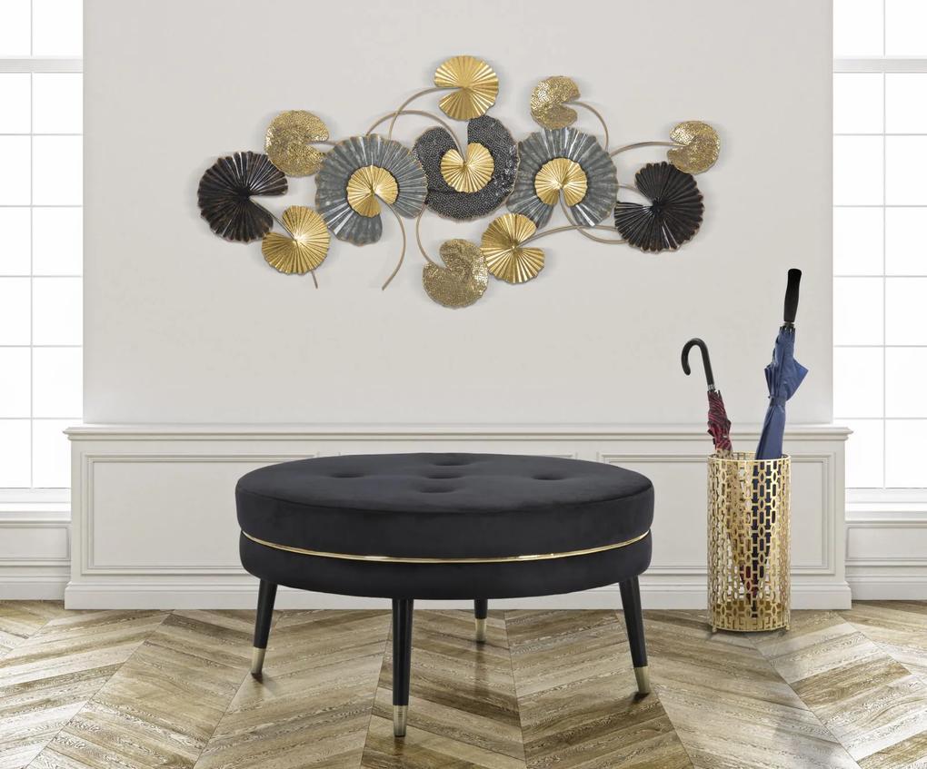 Taburet Paris XXL, lemn de pin metal plastic burete poliester, negru auriu, 90X46 cm