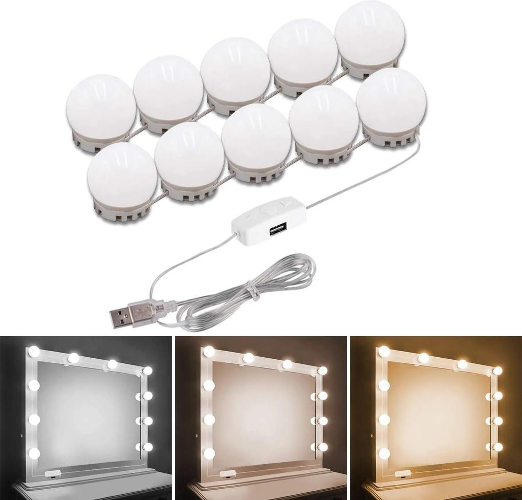 Set de lumini cu 10 becuri LED pentru Oglinda de make-up, 3 Moduri de Iluminare