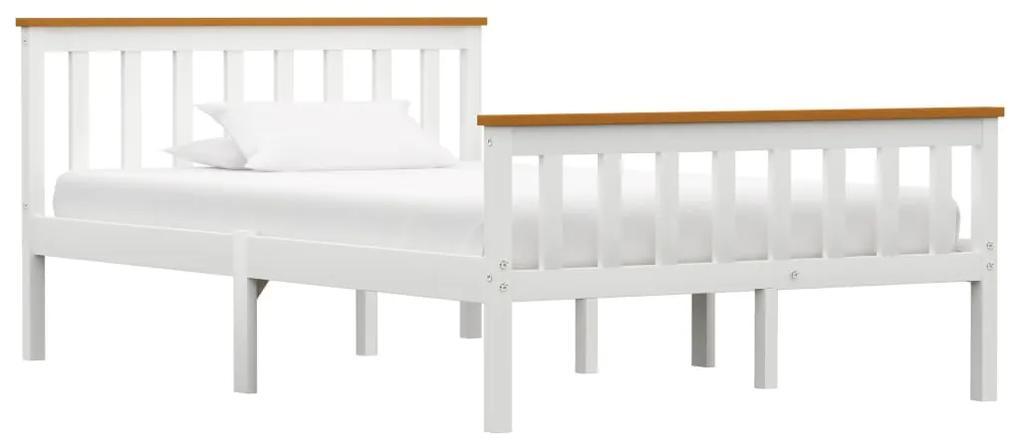283246 vidaXL Cadru de pat, alb, 120 x 200 cm, lemn masiv de pin