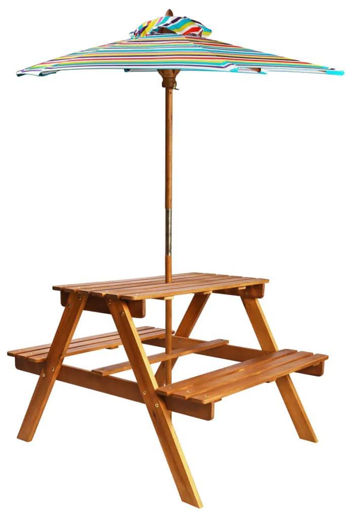 43990 vidaXL Masă picnic pentru copii cu umbrelă, 79x90x60 cm, lemn acacia