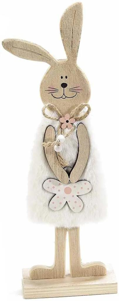 Figurina Iepuras Paste din lemn cu rochita textil alb 10 cm x 5 cm x 31 h