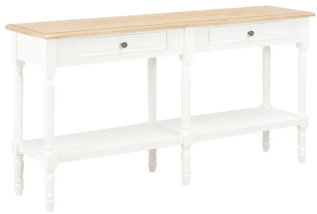 249826 vidaXL Servantă, alb și maro, 150 x 35 x 77 cm, lemn masiv