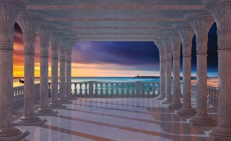 Sea View Through The Arches Fototapet, (104 x 70.5 cm)