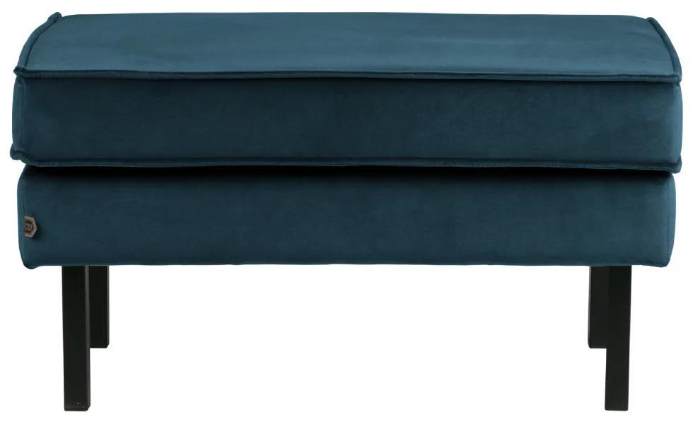 Bancheta din catifea albastra Rocco Hocker Velvet Blue