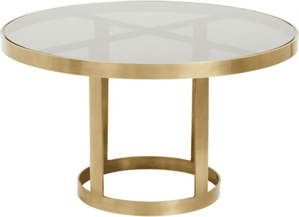 Masuta de Cafea Rotunda Aurie - Metal Aurie Diametru (80 cm) x Inaltime (47 cm)