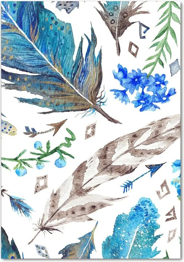 Tablou pe acril Pene și flori