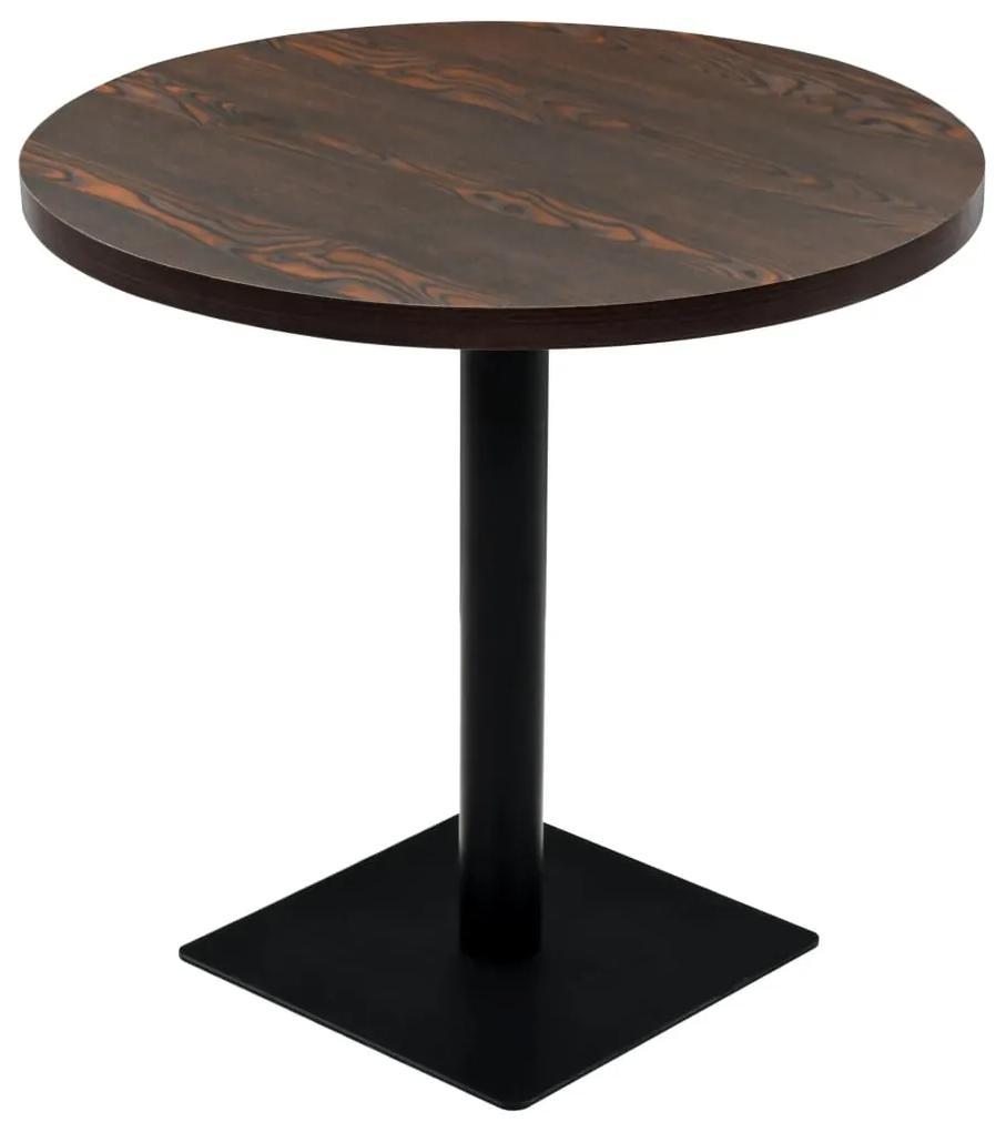 245610 vidaXL Masă bistro, MDF și oțel, rotundă, 80x75 cm, Cenușiu închis