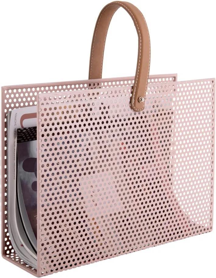 Suport metalic pentru reviste PT LIVING Perky, roz deschis
