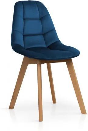 Scaun tapitat cu stofa, cu picioare din lemn Westa Velvet Blue / Beech, l49xA52xH83 cm