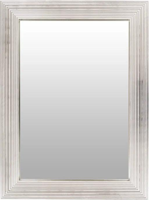 Oglinda dreptunghiulara cu rama din polistiren alba/argintie Harper, 79cm (L) x 59cm (L) x 1,8cm (H)