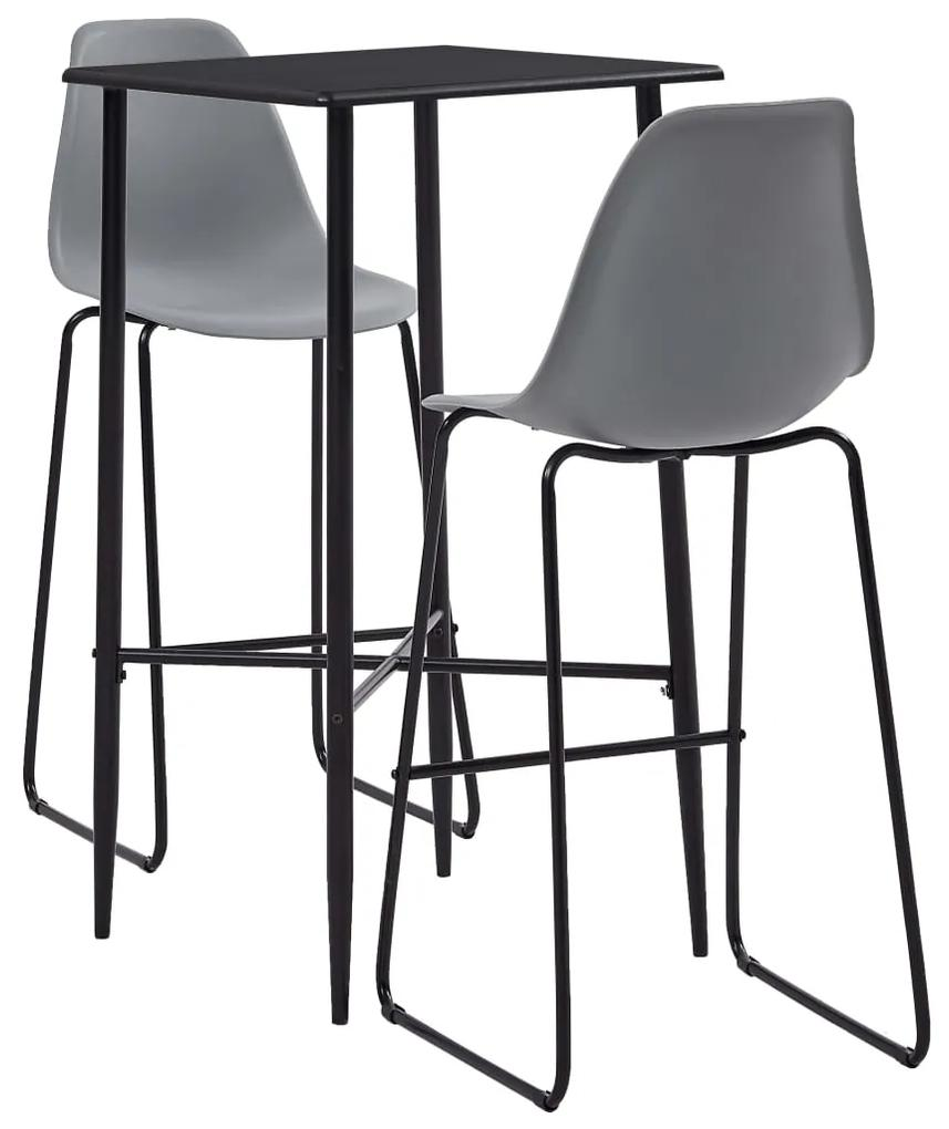 279923 vidaXL Set mobilier de bar, 3 piese, gri, plastic