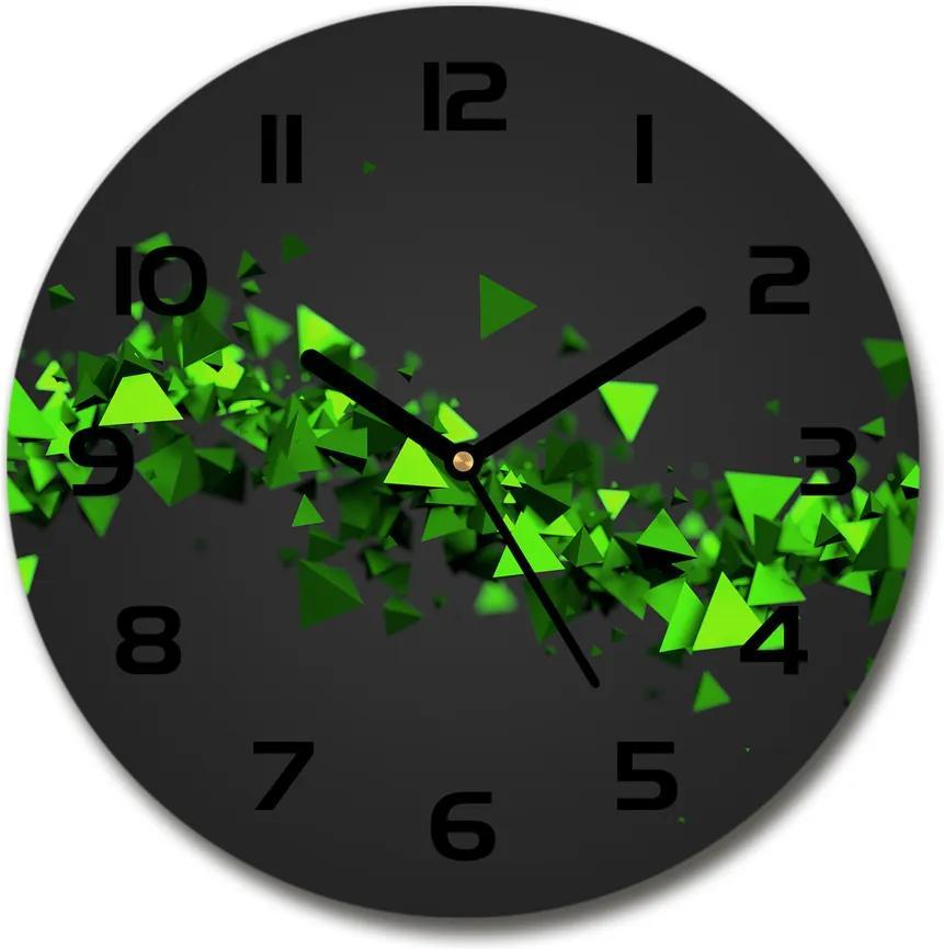 Ceas rotund de perete din sticlă Val geometric