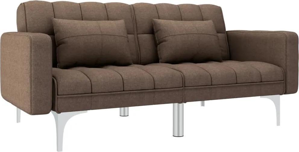 Canapea extensibila, maro, material textil