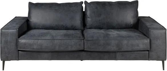 Canapea neagra din piele pentru 3 persoane Brett Zago