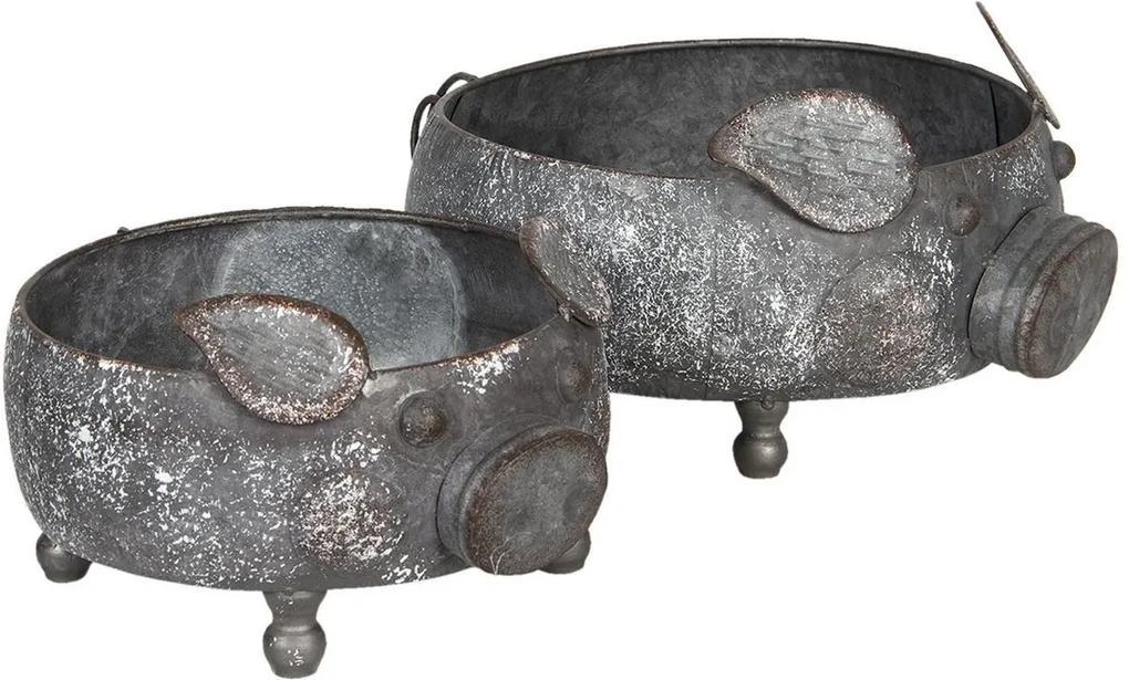 Set 2 suporturi pentru ghivece flori din fier negru gri Pig Ø 34 cm x 15 h; Ø 28 cm x 12 h