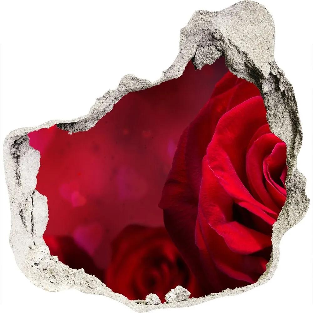 Autocolant autoadeziv gaură Inima trandafir rosu