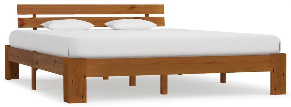 283182 vidaXL Cadru de pat, maro miere, 160 x 200 cm, lemn masiv de pin