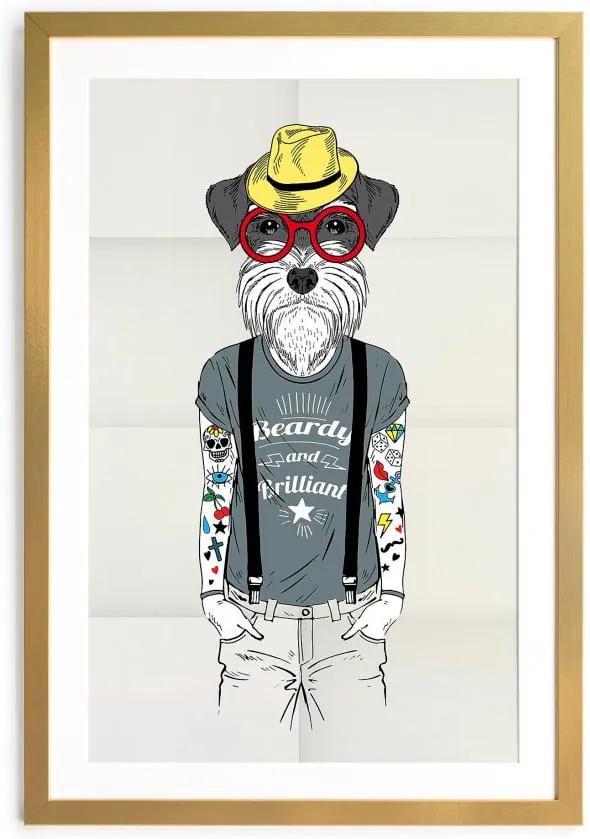 Tablou/poster înrămat Really Nice Things Hipster Dog, 65 x 45 cm