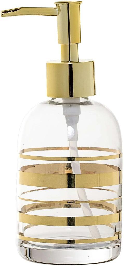 Dispenser sapun lichid Gold, Sticla, Ø7x17 cm