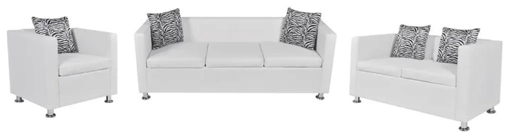 272181 vidaXL Set canapele 3 și 2 locuri și fotoliu, alb, piele artificială
