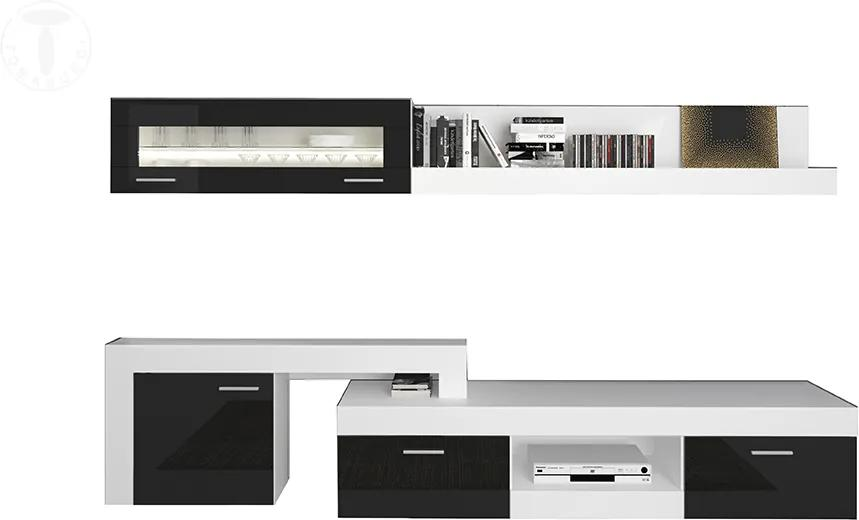 Set mobila living din MDF Hugo White/Black, Tomasucci