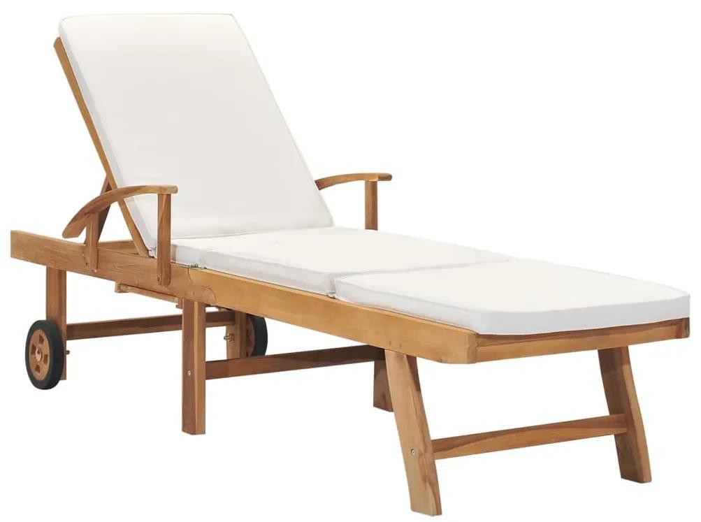 48022 vidaXL Șezlong cu pernă, crem, lemn masiv de tec