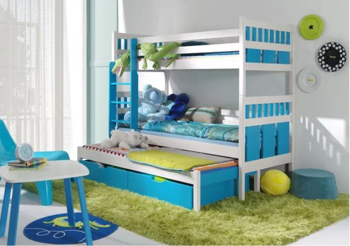 Pat supraetajat din lemn de pin, cu 2 sertare si 3 locuri, pentru copii Maksymilian, 200 x 90 cm