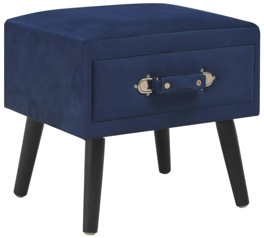 247540 vidaXL Noptieră, albastru, 40 x 35 x 40 cm, catifea