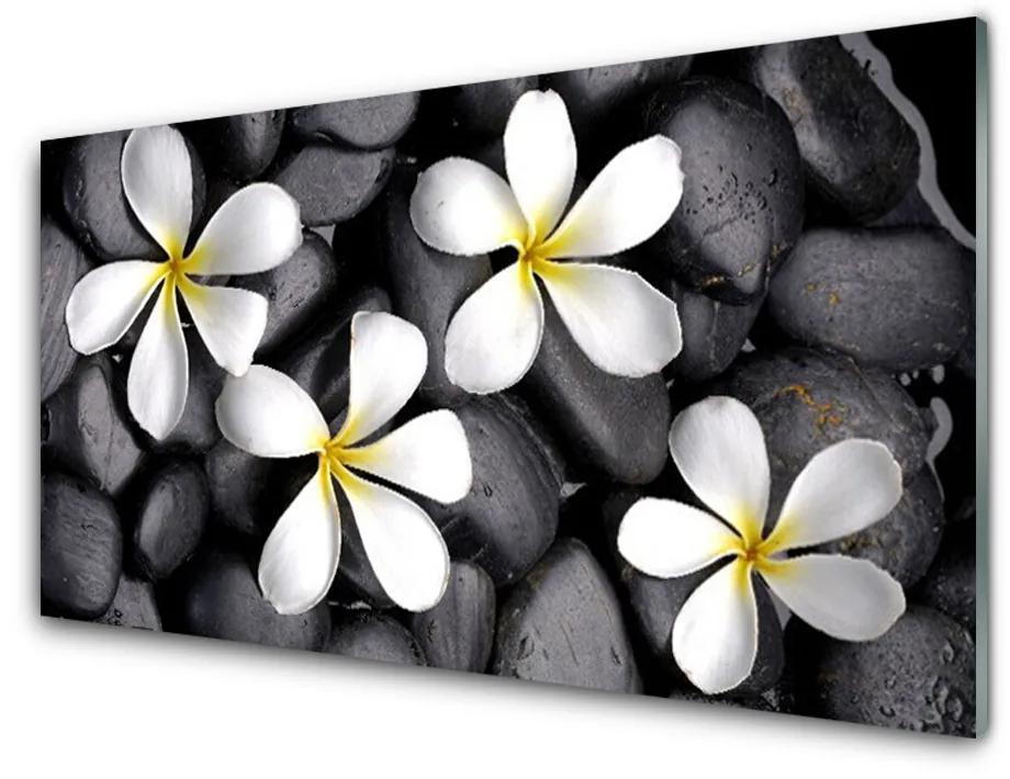 Tablou pe sticla acrilica Flori Floral alb