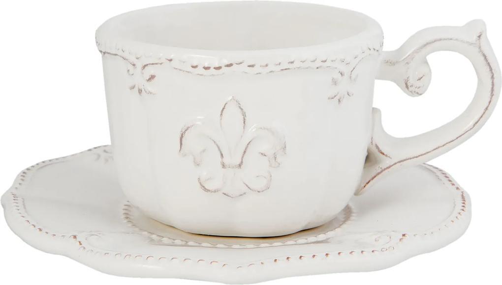 Ceasca cu farfurioara ceramica alba Royal 15x7 cm