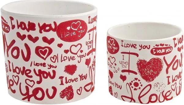 Set 2 ghivece ovale ceramica alba rosie Love