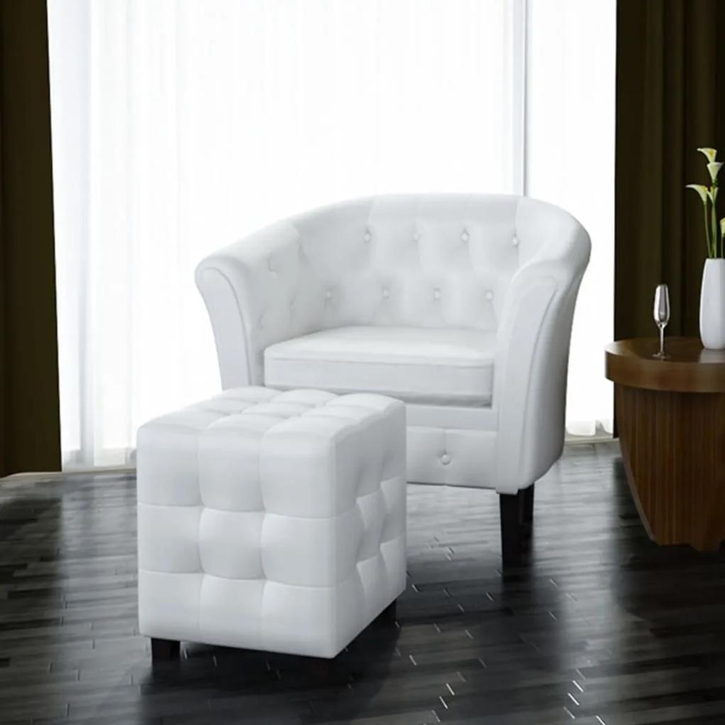 60711 vidaXL Fotoliu cu taburet, alb, piele ecologică