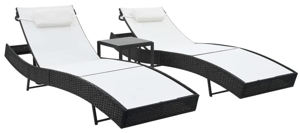 44894 vidaXL Șezlonguri de plajă cu masă 2 buc. negru poliratan & textilenă