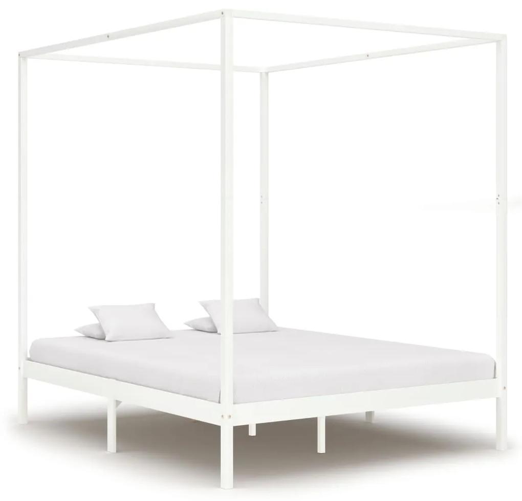 283266 vidaXL Cadru pat cu baldachin, alb,160 x 200 cm, lemn masiv de pin