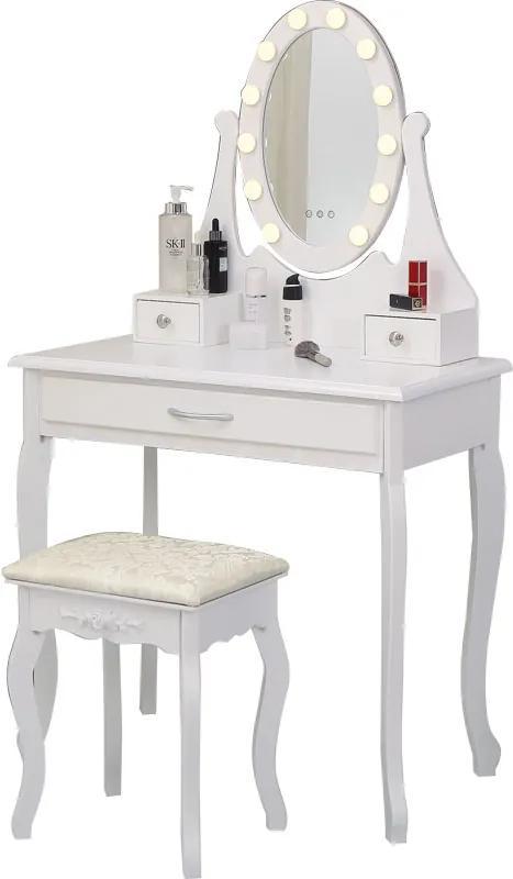 Set Maria, masă de toaletă cu oglindă iluminată LED, control touch,  3 sertare, scaun, Alb