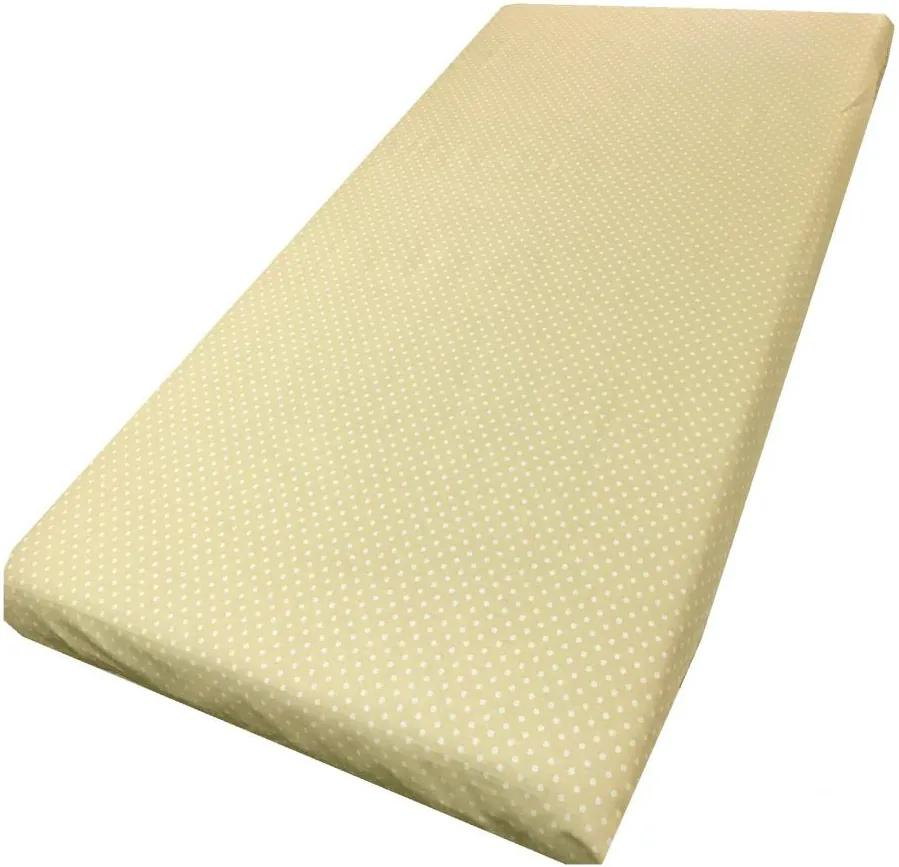 Cearsaf cu elastic pe colt 140x70 cm Buline albe pe crem
