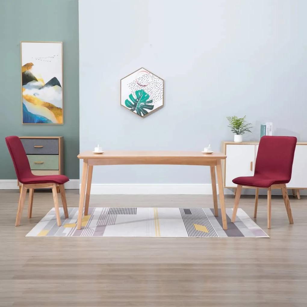 249065 vidaXL Scaune de bucătărie, 2 buc., roșu, textil & lemn stejar masiv