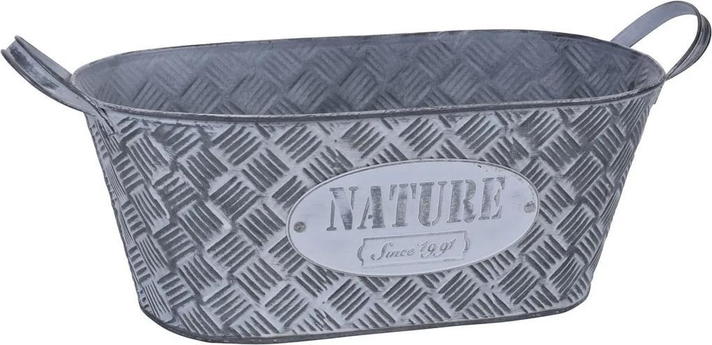 Recipient ghiveci din zinc Nature, gri, 33 x 17,3x 13 cm