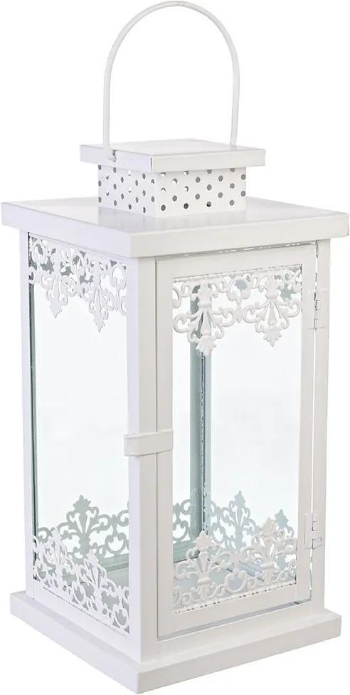 Felinar Almada metal sticla alb 13x13x25h
