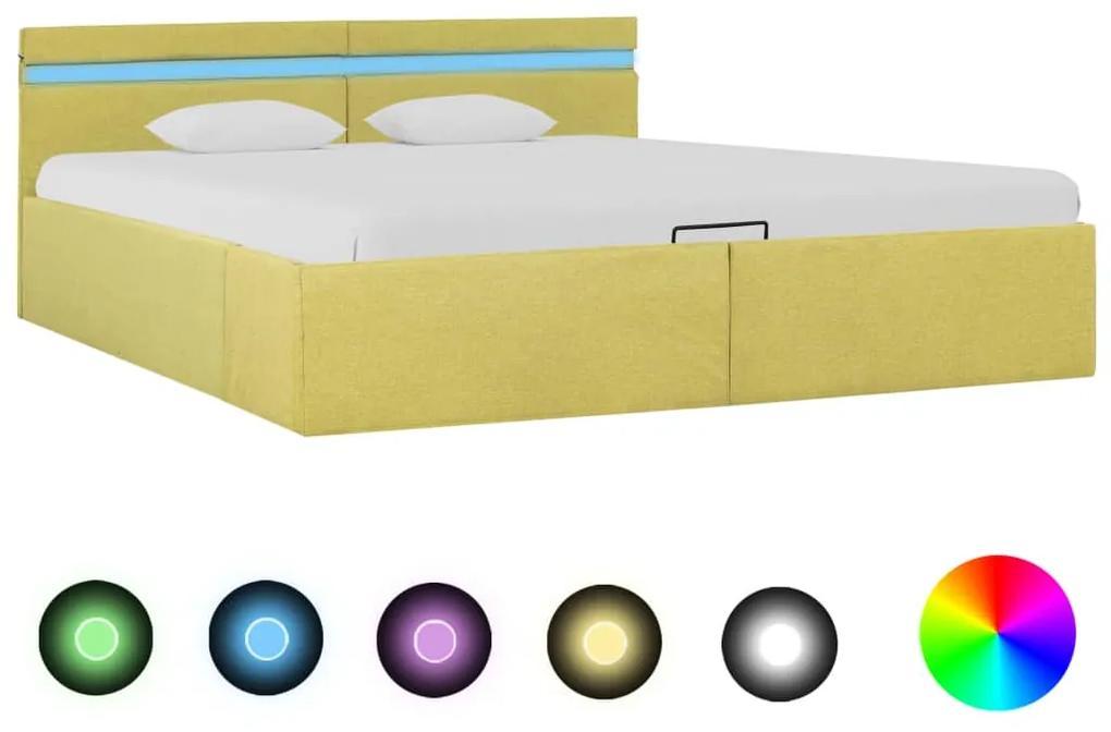 285622 vidaXL Cadru pat hidraulic ladă & LED, galben lime, 160x200 cm, textil