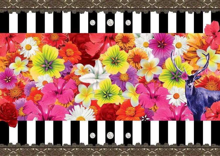 Floral Stripes Fototapet, (416 x 254 cm)