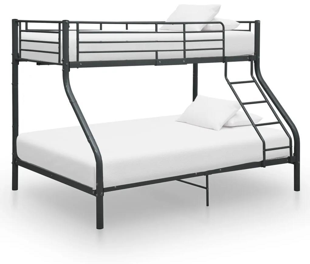 287905 vidaXL Cadru de pat supraetajat, negru, 140 x 200/90 x 200 cm, metal