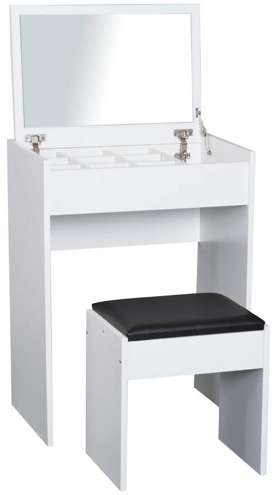 Homcom Masa de Machiaj cu Scaun si Container pentru depozitare si Oglinda Pliabila Alba