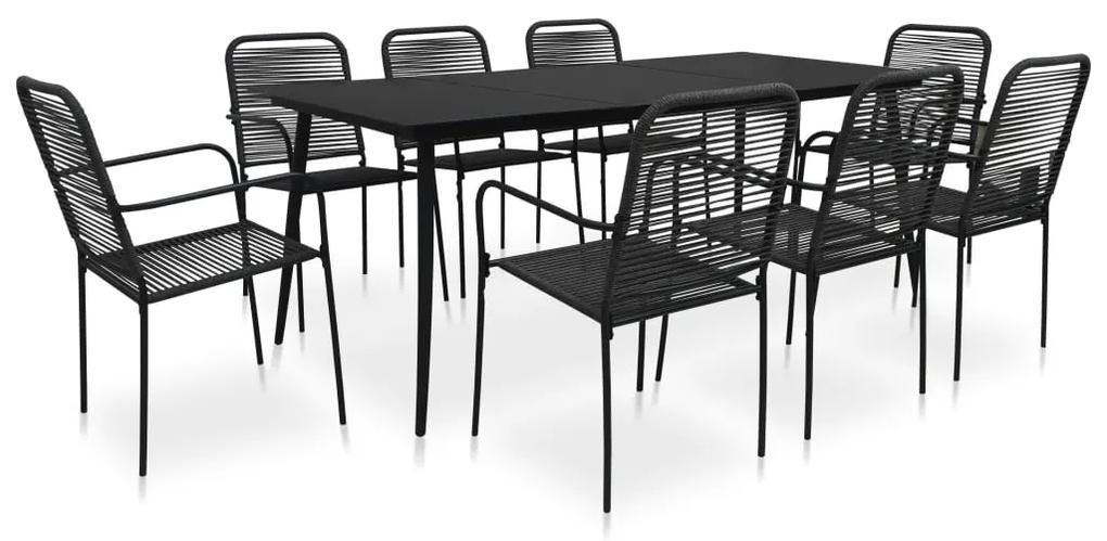 48571 vidaXL Set mobilier de exterior, 9 piese, negru, frânghie și oțel