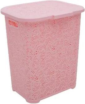 Cos de rufe TUFFEX, plastic rattan, 45 L, Elegant Roz dantelat TP8006-ROZ