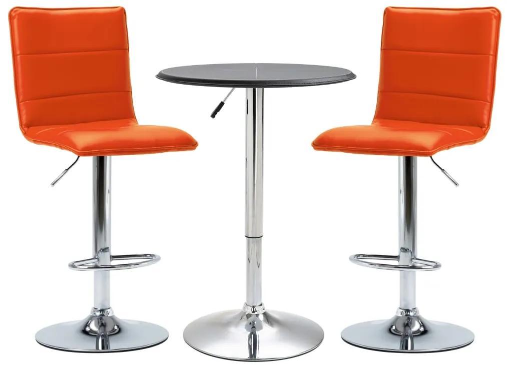 279637 vidaXL Set mobilier de bar, 3 piese, negru, piele ecologică