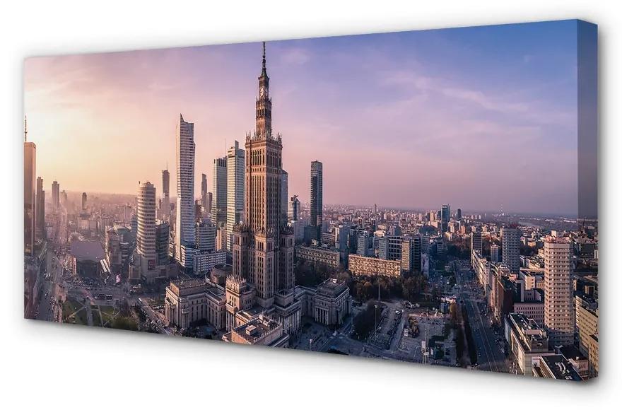Tablouri canvas Tablouri canvas panorama Varșovia Sunrise zgârie-nori