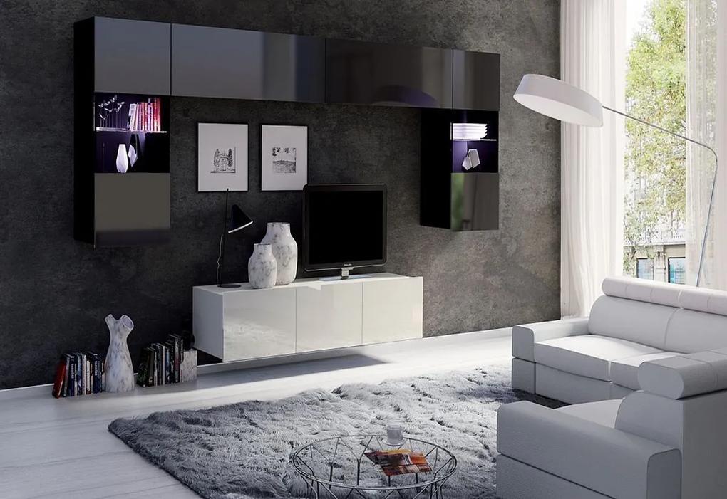 Expedo Set living BRINICA NR2, negru/negru luciu + alb/alb luciu