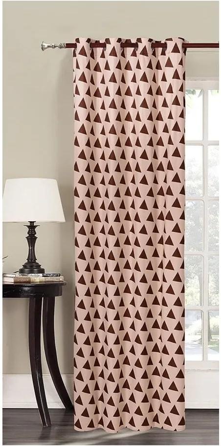 Draperie din microfibră DecoKing Triangles, 140 x 245 cm, bej