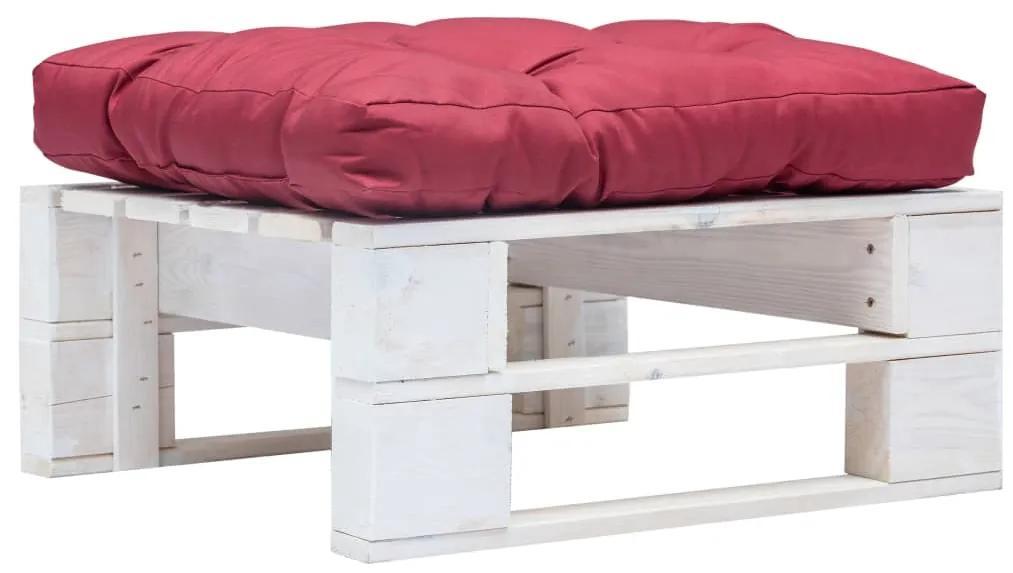 277376 vidaXL Taburet de grădină din paleți cu pernă roșie, alb, lemn